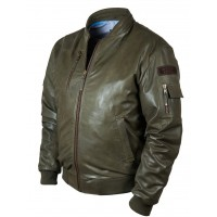 Кожаная куртка бомбер MA1 Tigers olive Art.318, Airborne Apparel™
