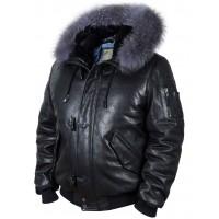 Пуховик кожаный Alaska Togo black Art. 512, Airborne Apparel™