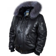Пуховик кожаный Alaska Togo black Art. 512, Airborne Apparel™
