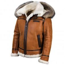 "Куртка-бомбер из овчины с капюшоном ""B-3"" Art.209, whisky, Airborne Apparel™"