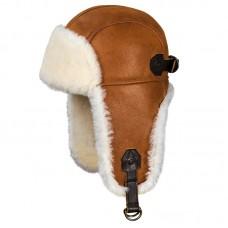 Шапка-ушанка из натуральной овчины Mustang, Art.44, whiskey-white, Airborne Apparel™