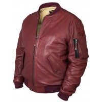 Кожаная куртка бомбер MA1 Tom Cat bordo Art.317, Airborne Apparel™