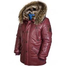 Куртка Аляска кожаная North Pole 94 bordo Art.518, Airborne Apparel™