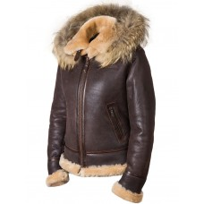 """Куртка-бомбер из овчины женская с капюшоном """"Nancy Love"""" Art.905, Airborne Apparel™"""