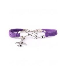 "Браслет ""Love, plane, infinity"", purple"