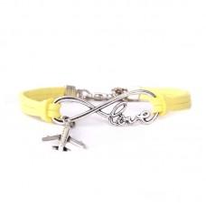 "Браслет ""Love, plane, infinity"", yellow"
