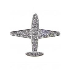 "Брошь ""Самолёт"" с белыми кристаллами, цвет: серебро"