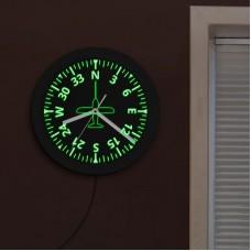 Часы настенные с самолётом, круглые, с LED подсветкой