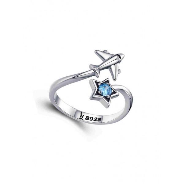 "Кольцо ""Самолёт и звезда"", серебро 925 пробы"