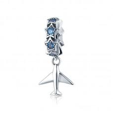 "Кулон ""Самолёт и синие звёзды"" серебро 925 проба"