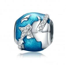"Кулон ""Вокруг Земли"" серебро 925 проба, кубический цирконий"