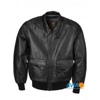 Куртка кожаная A-2 Leather jacket, black, Alpha Industries™