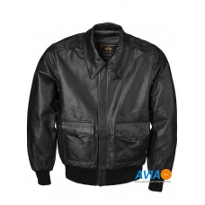 Куртка кожаная A-2 Leather jacket, black, Alpha Industries™
