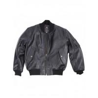 Куртка кожаная MA-1 Leather jacket, black, Alpha Industries™