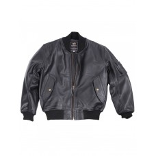 Куртка кожаная MA-1 Leather jacket, black, Alpha Industries™