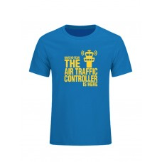 """Футболка """"Have no fear. The air traffic controller is here"""" Цвет: light blue-yellow"""