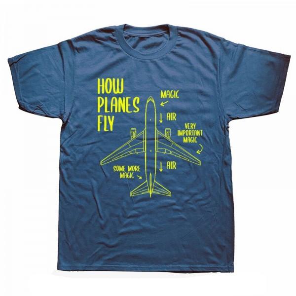 """Футболка """"How Planes Fly"""" Цвет: navy blue-yellow"""