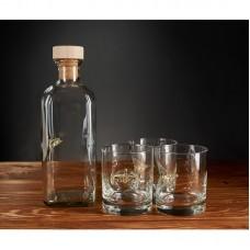 """Набор подарочный """"Три стакана для виски и графин с самолетом"""""""