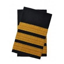 Погоны лётного состава гражданской авиации на рубашку 3 полосы золотые (украинская лента), чёрные Куртаж™