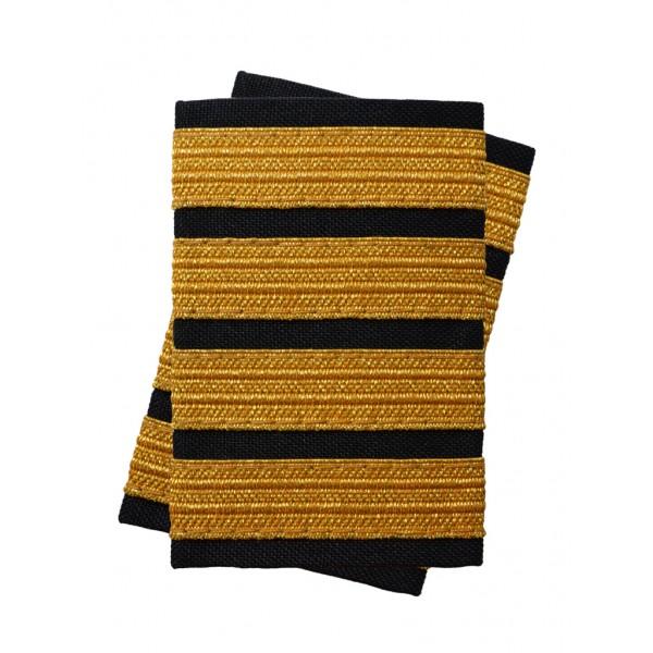 Погоны лётного состава гражданской авиации на рубашку 4 полосы золотые (украинская лента), чёрные Куртаж™