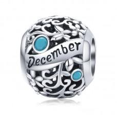 "Шарм-кулон ""Декабрь"" серебро 925 проба, кубический цирконий"