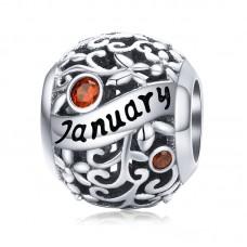 "Шарм-кулон ""Январь"" серебро 925 проба, кубический цирконий"