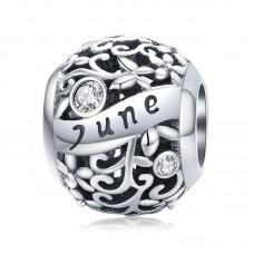 "Шарм-кулон ""Июнь"" серебро 925 проба, кубический цирконий"