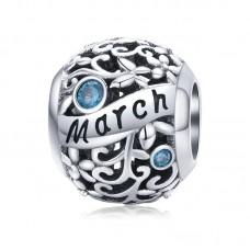 "Шарм-кулон ""Март"" серебро 925 проба, кубический цирконий"