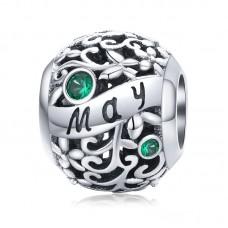 "Шарм-кулон ""Май"" серебро 925 проба, кубический цирконий"