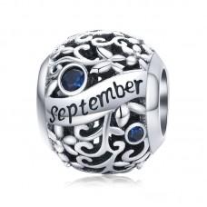"""Шарм-кулон """"Сентябрь"""" серебро 925 проба, кубический цирконий"""