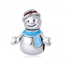 "Шарм-кулон ""Снеговик с голубым шарфом"", серебро 925 проба"