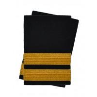 Погоны лётного состава гражданской авиации на рубашку 2 полосы золотые (украинская лента), чёрные Куртаж™