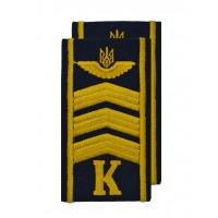 """Погоны курсантские гражданской авиации на рубашку """"К"""" 3 полосы вышитые жёлтой нитью, герб, тёмно-синие Куртаж™"""