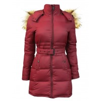Женский пуховик TOP GUN™ INSULATED LIGHTWEIGHT LONG COAT WITH REMOVABLE HOOD, burgundy