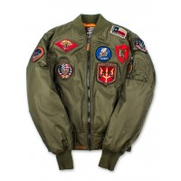 Куртка-бомбер Top Gun™ MA-1 Nylon Bomber Jacket with Patches, olive