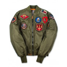 Куртка-бомбер Top Gun™ MA-1 Nylon Bomber Jacket with Patches, olive