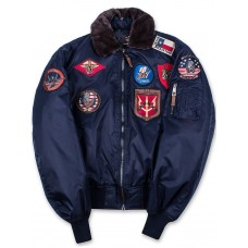 Куртка лётная Top Gun™ Official B-15 Flight Bomber Jacket with Patches, blue