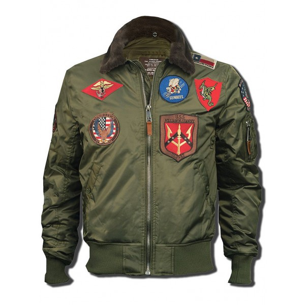 Куртка лётная Top Gun™ Official B-15 Flight Bomber Jacket with Patches, olive