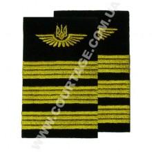Погоны лётного состава гражданской авиации на рубашку 3 полосы вышитые жёлтым, герб, чёрные Куртаж™