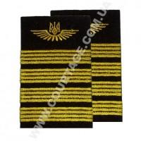Погоны лётного состава гражданской авиации на рубашку 4 полосы вышитые жёлтым, герб, чёрные Куртаж™