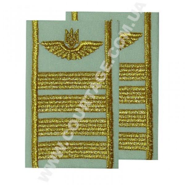 Погоны руководящего состава гражданской авиации на рубашку 4 полосы вышитые золото, герб, белые Куртаж™